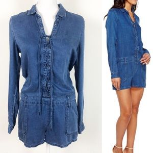 PAIGE Arley Chambray Romper with Pockets